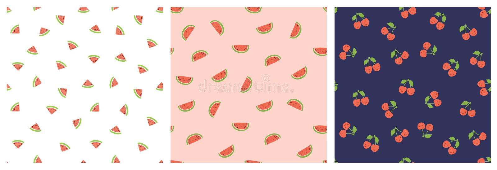 Kid`s seamless pattern. Smiling watermelon and cherry. Exotic fruit fashion print. Design elements for baby textile or clothes. stock illustration