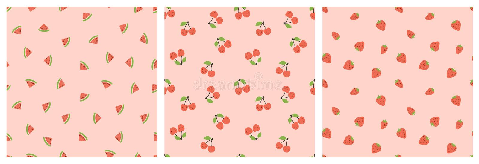 Kid`s seamless pattern. Smiling watermelon, cherry and strawberry. Exotic fruit fashion print. Design elements for baby textile o royalty free illustration