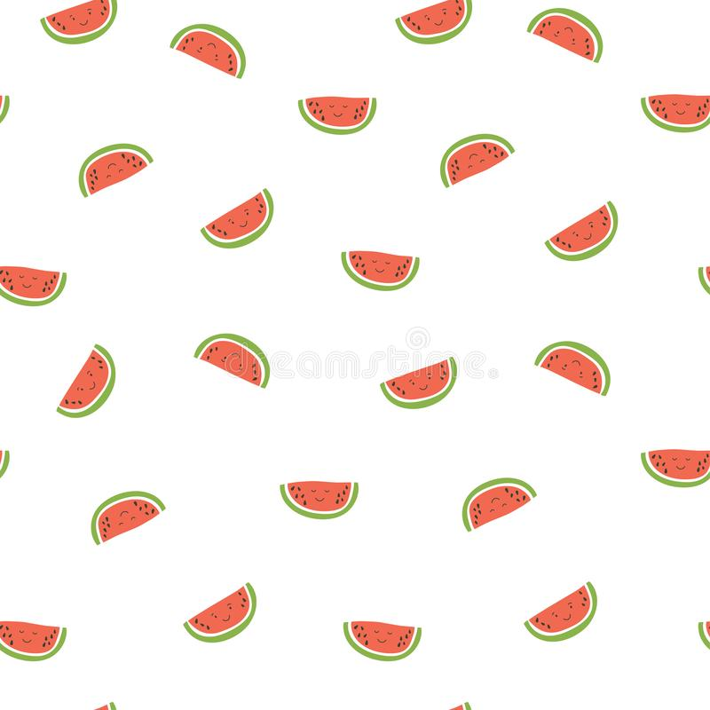 Kid`s seamless pattern. Smiling watermelon. Exotic fruit fashion print. Design elements for baby textile or clothes. Hand drawn royalty free illustration