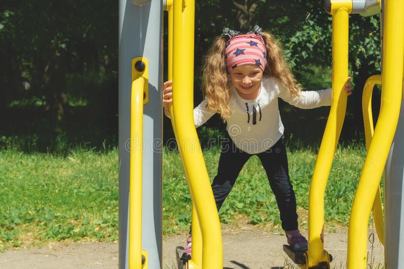 Kid`s workout sports and competition, active sports stock photography