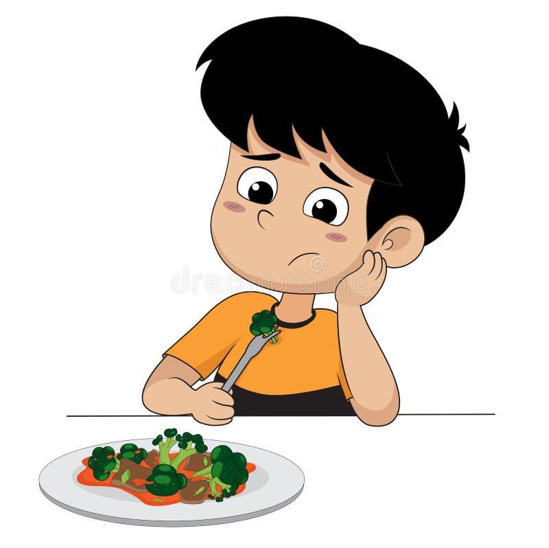 Kid sad with his broccoli. vector illustration