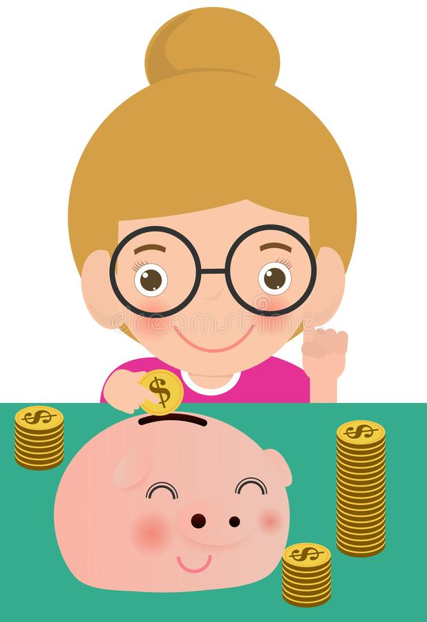 Kid saving money in a piggy bank. Children finances and savings concept. child with piggy bank. Flat style cartoon vector vector illustration
