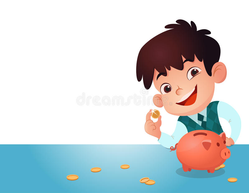 Kid saving money. royalty free illustration