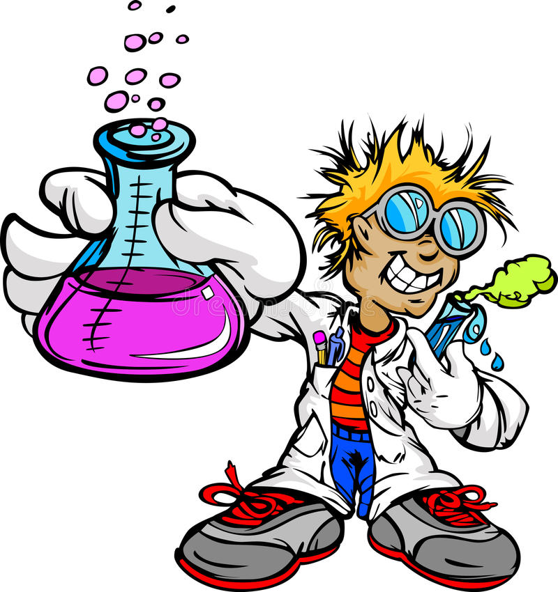 Kid Scientist Inventor. Science Inventor Boy Cartoon Student with Lab Coat and Scientific Experiment Equipment Illustration stock illustration
