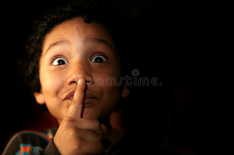 Download Kid With A Secret Or Silence Expression Stock Photo - Image: 517482