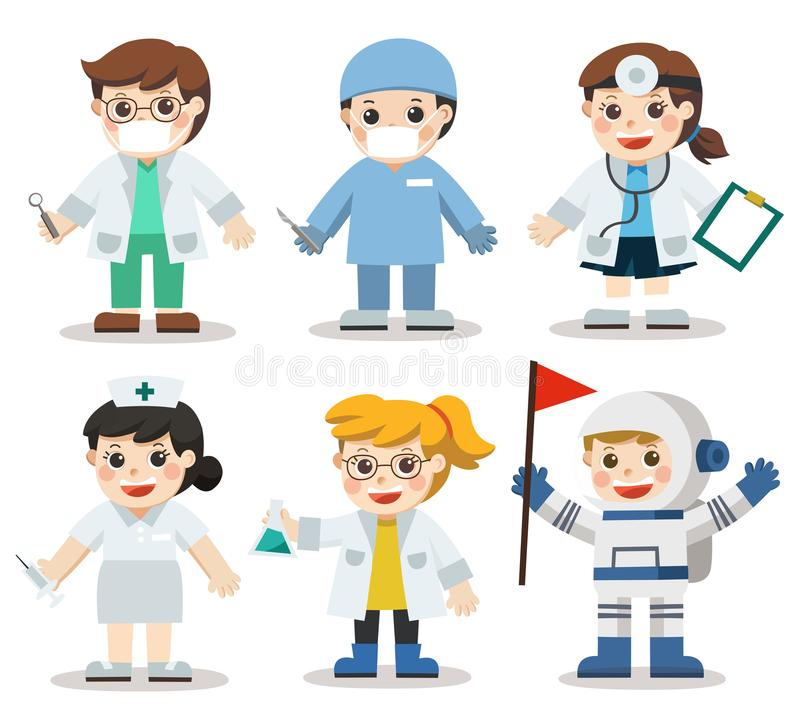 Kid Set of Different Medicine and Health care professions. vector illustration
