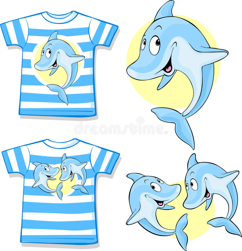 Download Kid Shirt With Cute Dolphin Stock Vector - Illustration: 41002554