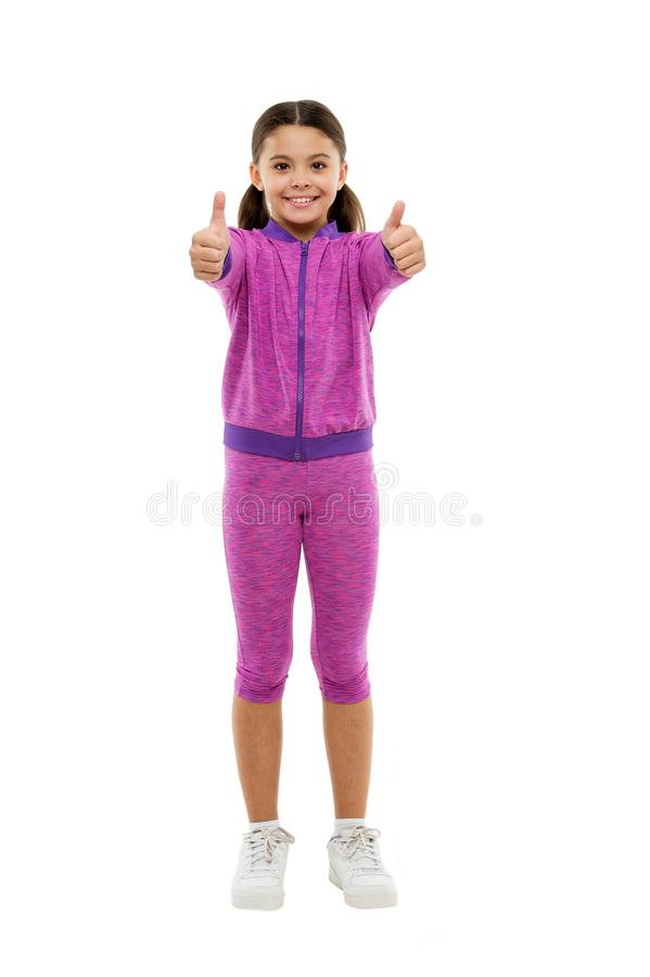 Kid show thumb up. Girl happy totally in love fond of or highly recommend. Thumb up approvement. Kids actually like. Concept. Girl cute child show thumbs up royalty free stock images