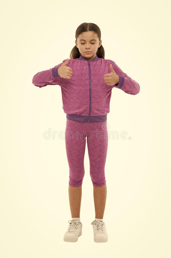 Kid show thumb up. Girl happy totally in love fond of or highly recommend. Thumb up approvement. Kids actually like. Concept. Gifts your teens will totally love stock images