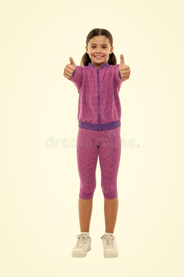 Kid show thumb up. Girl happy totally in love fond of or highly recommend. Thumb up approvement. Kids actually like. Concept. Girl cute child show thumbs up stock photography