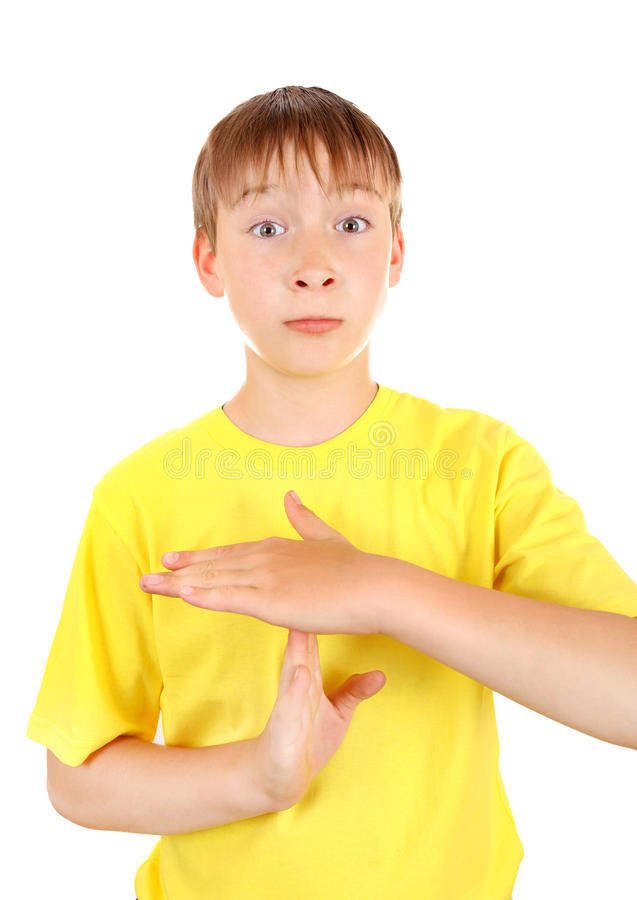 Download Kid shows Time out gesture stock image. Image of stop - 41824061
