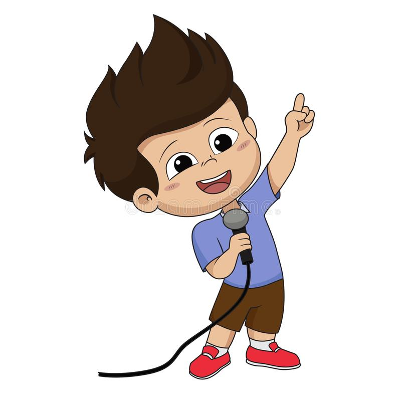 Free Kid Sing A Song.vector And Illustration. Royalty Free Stock Photo - 118634945