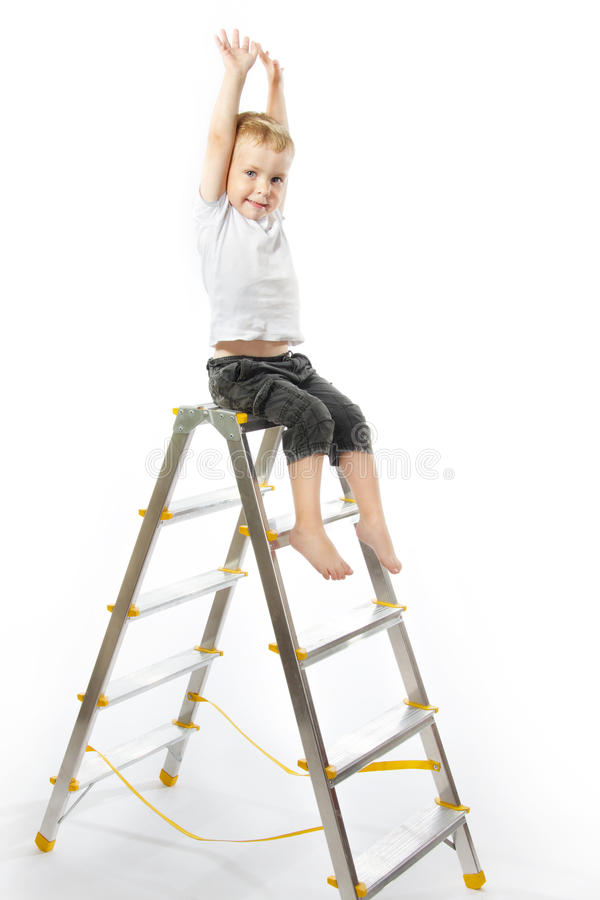 Download Kid Sitting On Top Of Stepladder, Hands Raise Up. Stock Photo - Image of climbing, toddler: 19396076