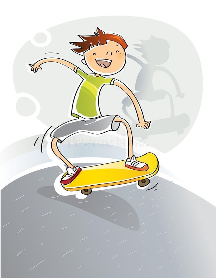 Kid with skateboard royalty free illustration