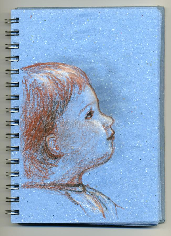 Kid - sketchbook stock image