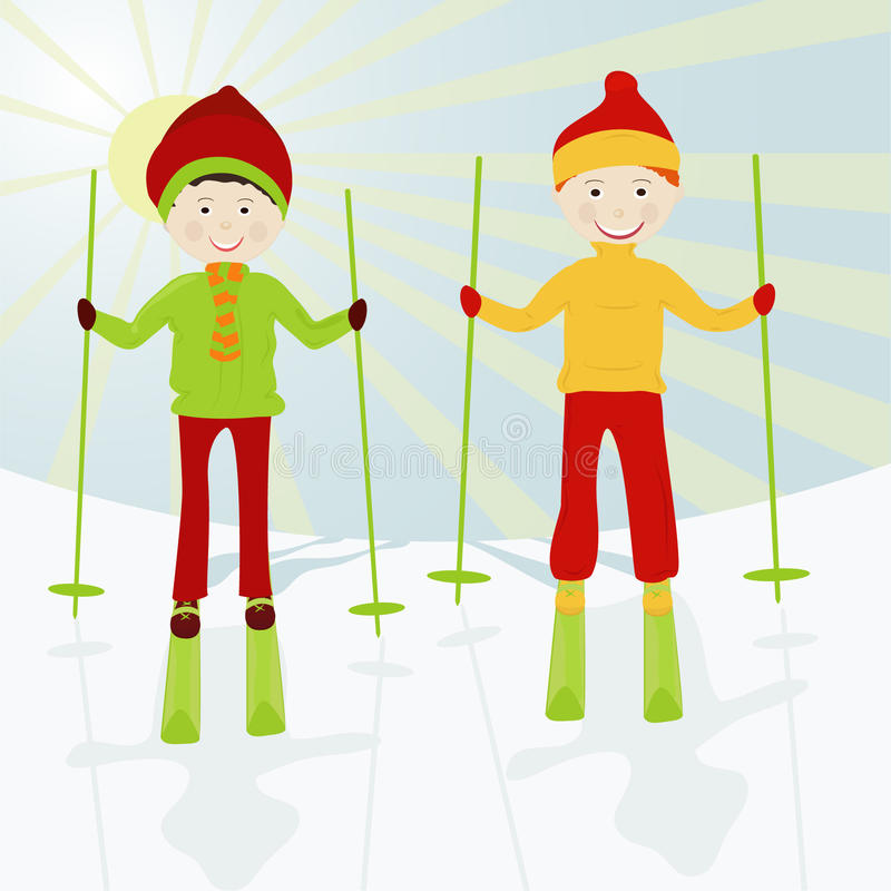 Download Kid skiers stock vector. Illustration of child, christmas - 16303829
