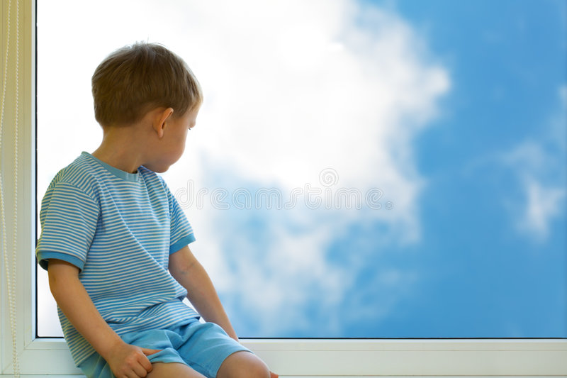 Kid and sky royalty free stock image