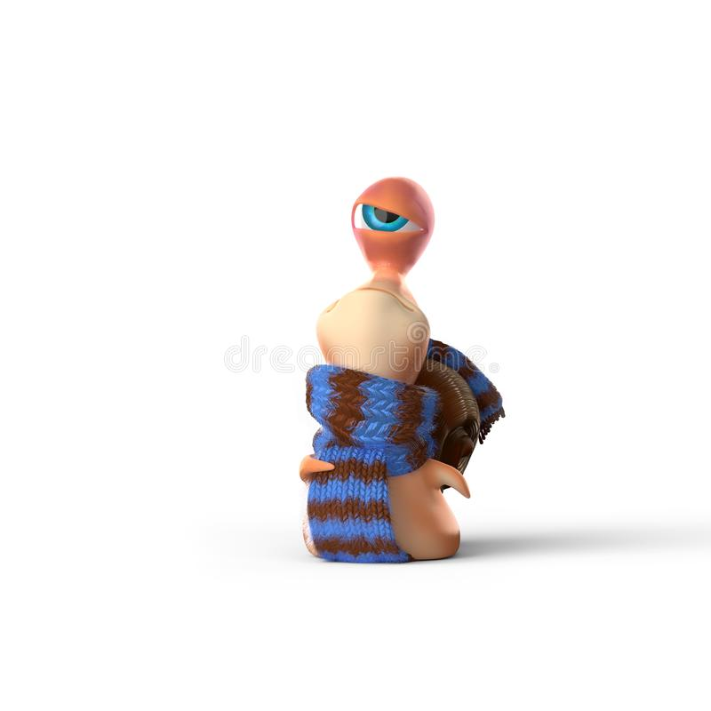 Kid snail is swaggering mood white background stock illustration