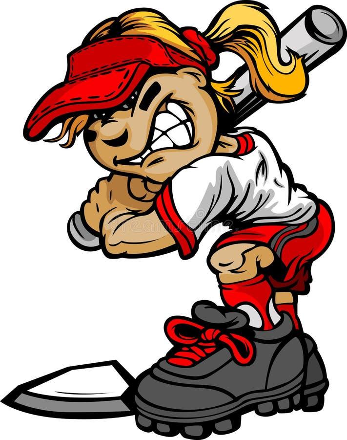 Kid Softball Batter Holding Bat stock illustration