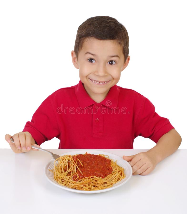Download Kid and spaghetti stock image. Image of noodles, meal - 18307107
