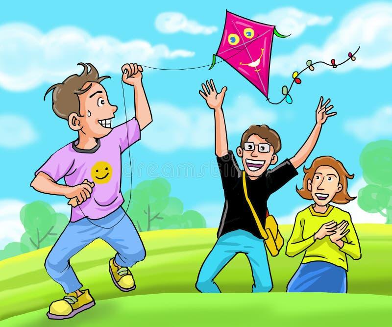 Kid speel graag met zijn familie royalty-vrije illustratie