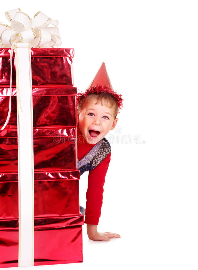 Download Kid with stack gift box. stock image. Image of male, happy - 27568921