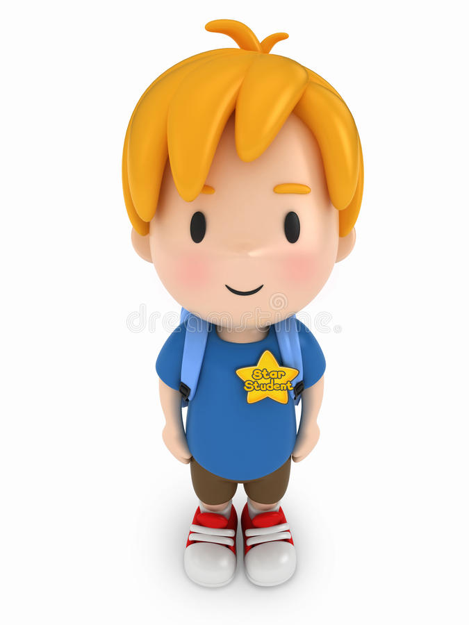 Kid with Star Student Award. 3D Render of Kid with Star Student Award vector illustration