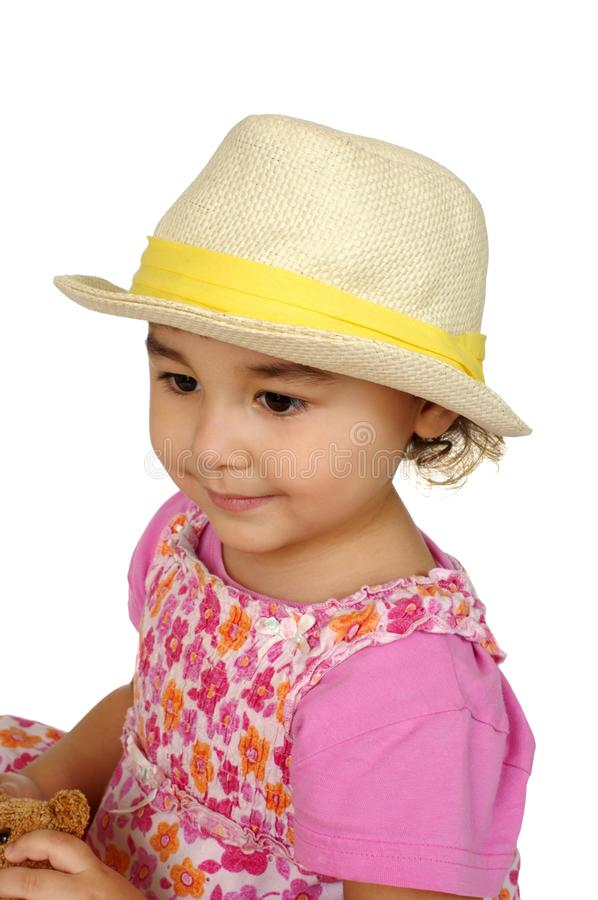 Kid with straw hat stock images