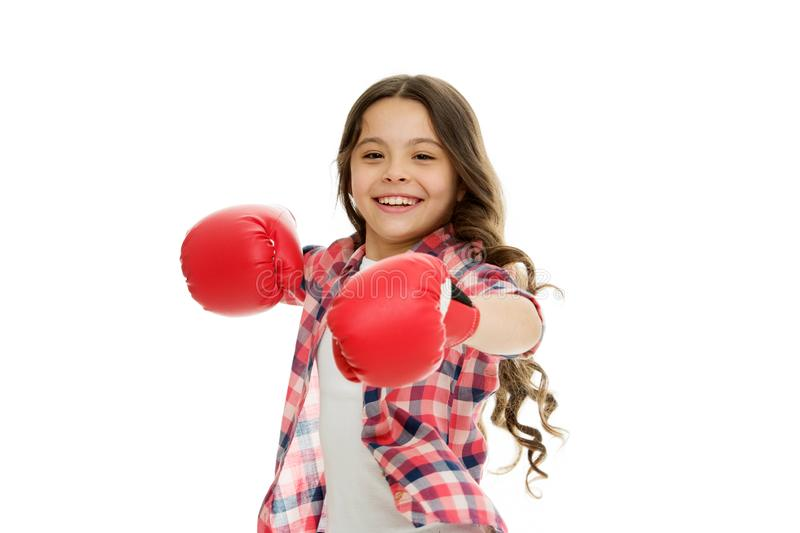 Kid strong and independent girl. Feel strong and independent. Girls power concept. Upbringing confidence and strong. Character. Female rights and liberties stock image