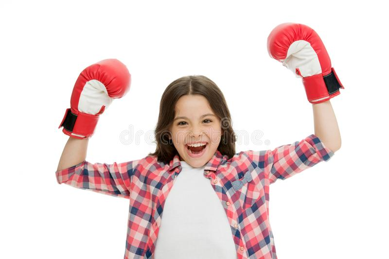 Kid strong and independent girl. Feel powerful. Girls power concept. Feminist upbringing and female rights. Fight for royalty free stock photo