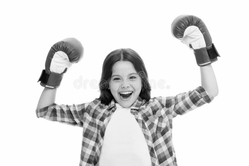 Kid strong and independent girl. Feel powerful. Girls power concept. Feminist upbringing and female rights. Fight for. Her rights. Female rights and liberties stock photos