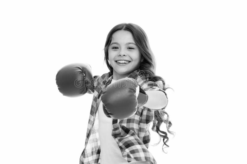 Kid strong and independent girl. Feel strong and independent. Girls power concept. Upbringing confidence and strong. Character. Female rights and liberties royalty free stock photos