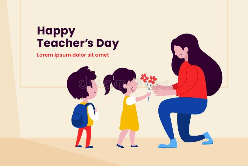 Kid student giving flower to her teacher flat illustration for happy teacher`s day background poster concept graphic design vector illustration