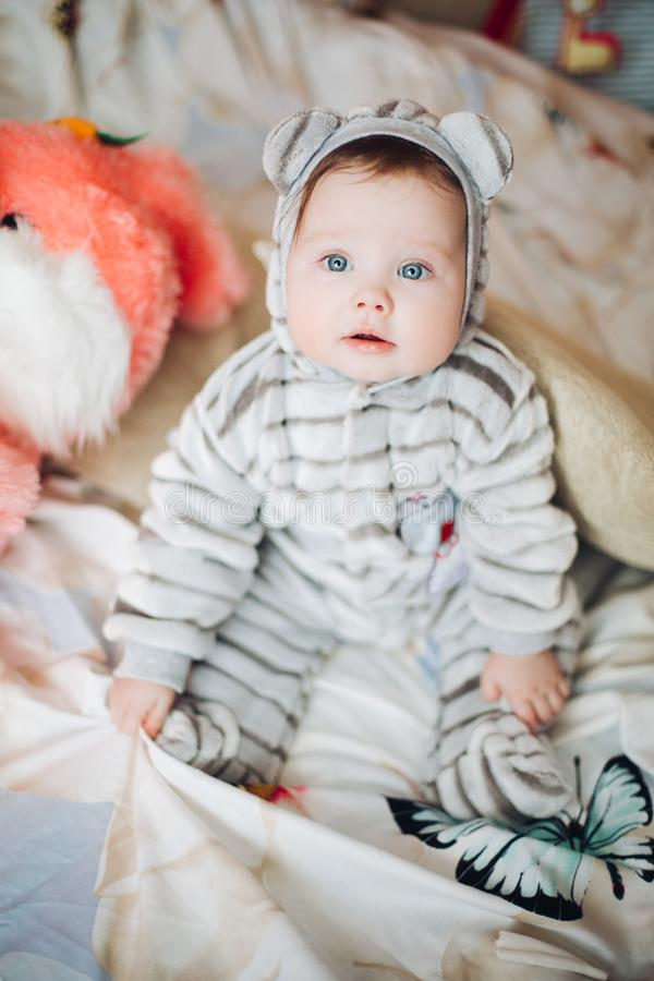 Kid in suit like tiger or bear with hood and ears. Portrait of little kid in soft gray suit like tiger or bear with hood and ears. Cute baby with blue eyes royalty free stock photography