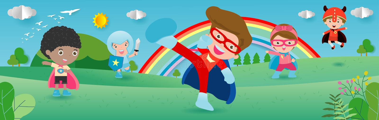 Kid Superheroes wearing comics costumes,child With Super hero Costumes set, Cute little Children`s in Superhero costume characters. Isolated on white background vector illustration