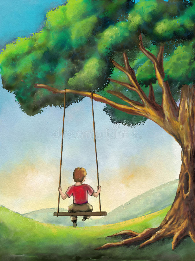 Kid on a swing. Kid playing on a swing in a country landscape. Digital illustration stock illustration