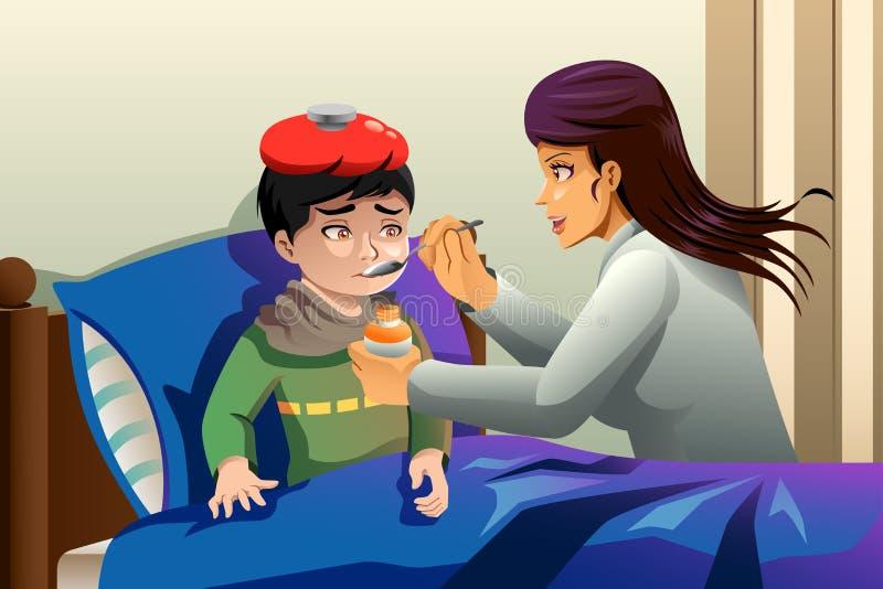 Kid Taking Medicine. A vector illustration of sick kid taking medicine vector illustration