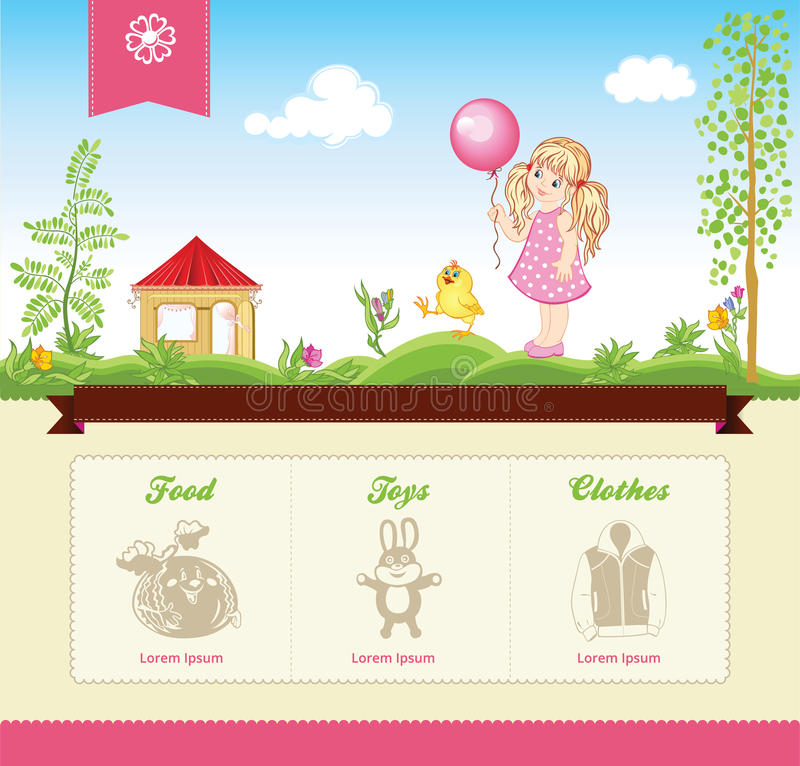 Kid template for web site. With vector cartoon illustrations stock illustration