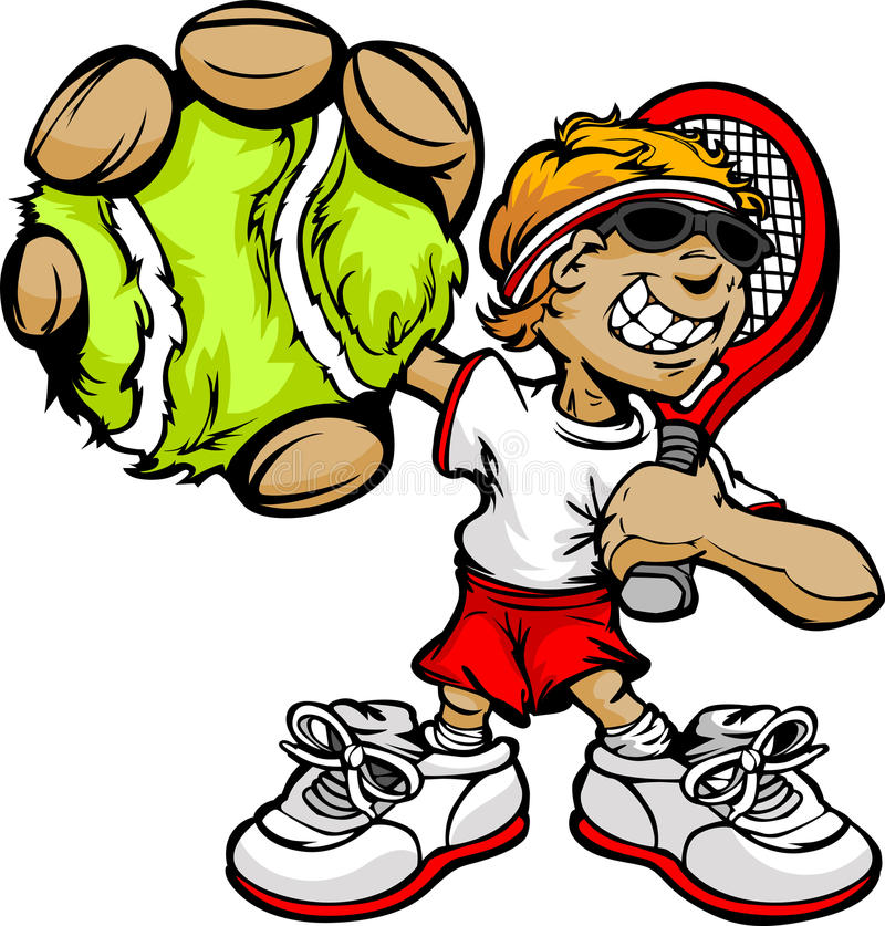 Download Kid Tennis Player Holding Racquet And Ball Royalty Free Stock Photography - Image: 24181637