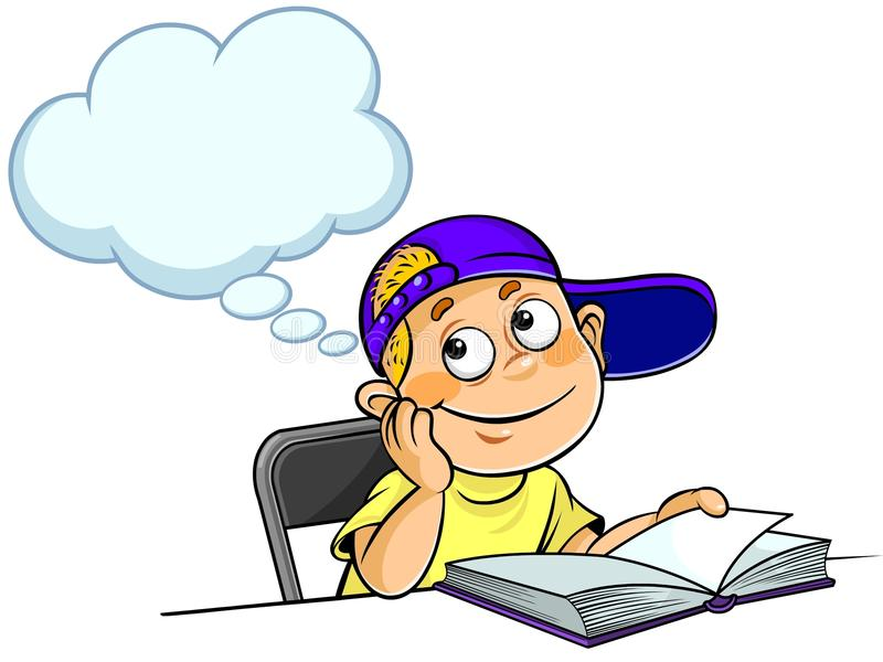Kid Thinking with a book vector illustration