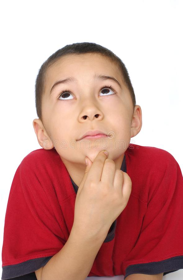 Download Kid thinking looking up stock photo. Image of short, brown - 16072162