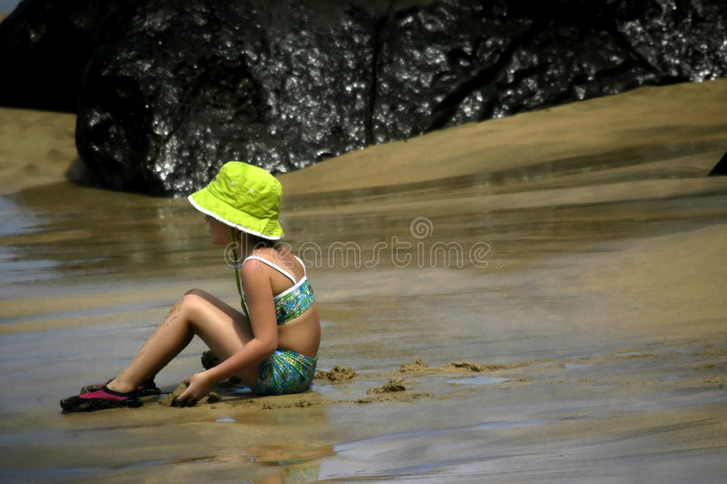 Download Kid Time at the Beach stock photo. Image of back, bathing - 3104382