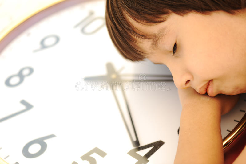 Kid and time, concept stock photography