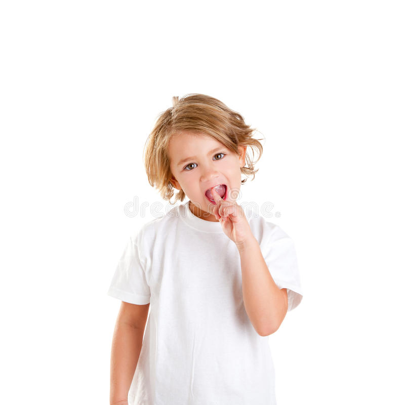 Kid with tooth ache and finger in pain teeth royalty free stock photos