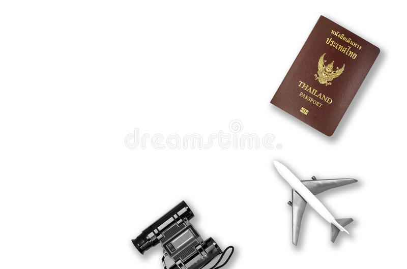 Kid Toy travel accessories and passport. With copy space royalty free stock images