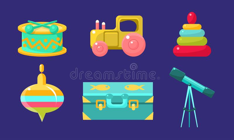 Kid Toys and Baby Care Supplies Set, Child Belongings, Whirligig, Suitcase, Telescope, Drum, Toy Tractor, Pyramid Vector. Illustration on Blue Background stock illustration