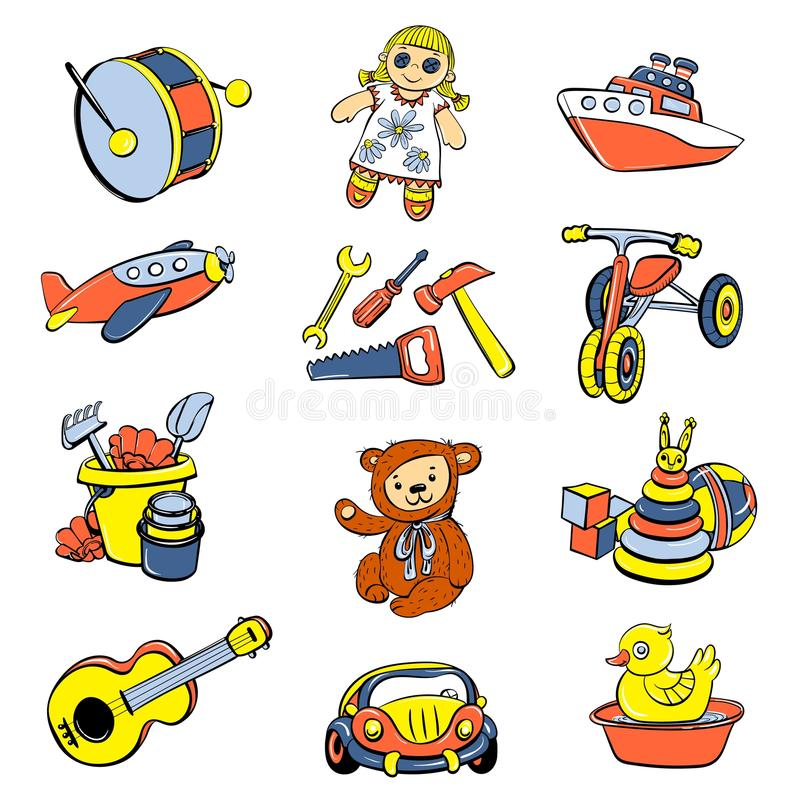 Kid toys children icons set, cartoon style. Kid toys or children playthings icons set. Cartoon hand drawn illustration of 9 kid toys or children playthings royalty free illustration