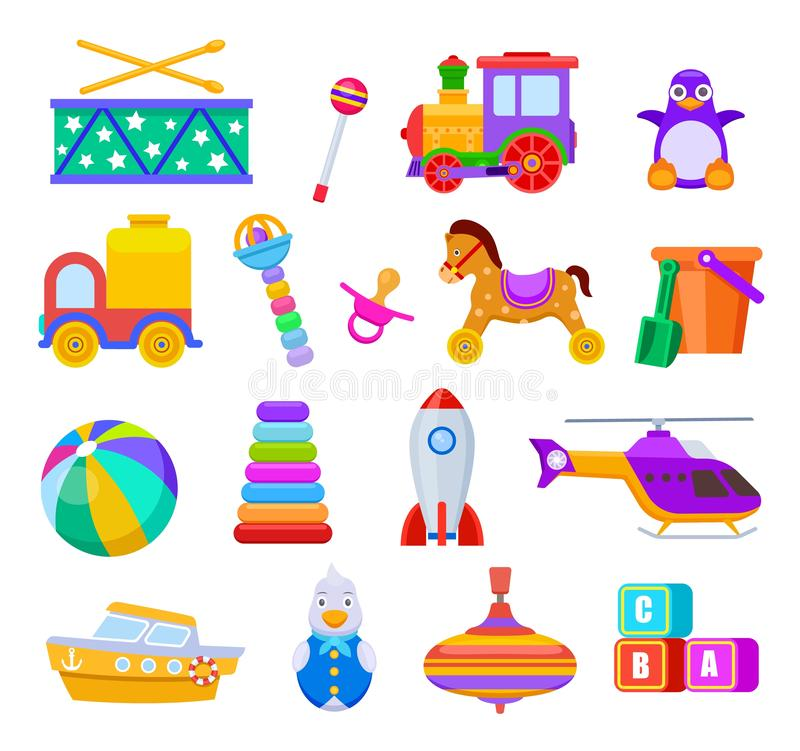 Kid toys. Drum and train, penguin and truck, ball and ship, helicopter and rattle, pacifier and cubes, rocket. Children stock illustration