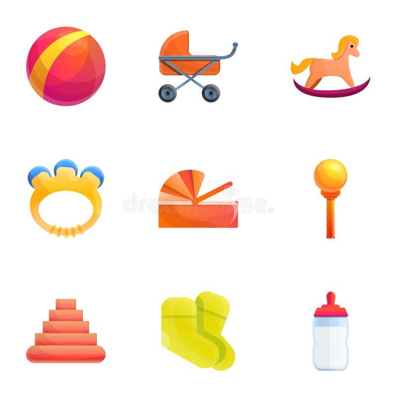 Kid toys icon set, cartoon style. Kid toys icon set. Cartoon set of 9 kid toys vector icons for web design isolated on white background stock illustration