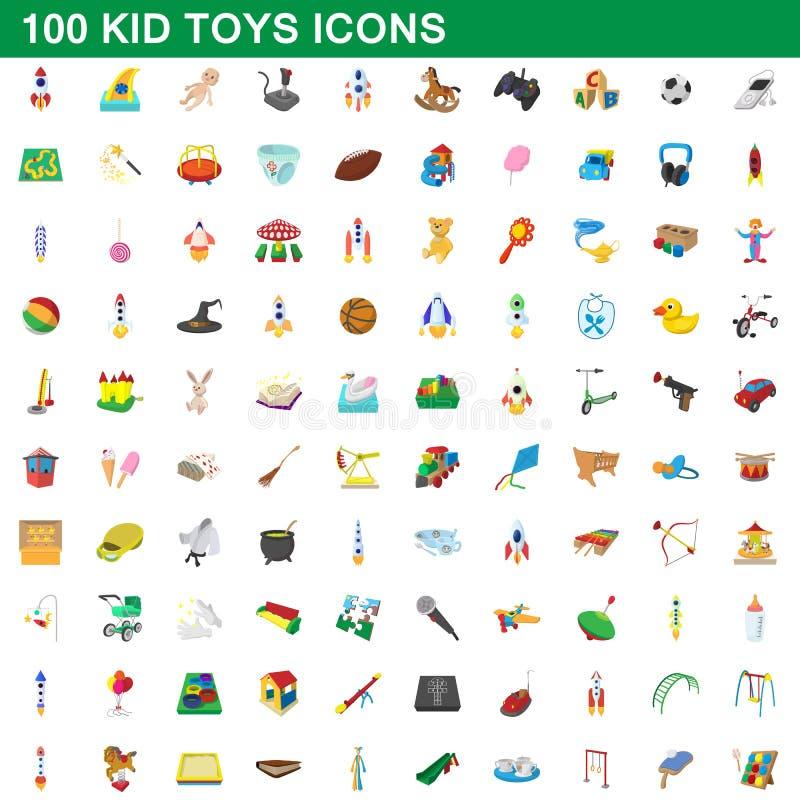 100 kid toys set, cartoon style. 100 kid toys set in cartoon style for any design illustration stock illustration